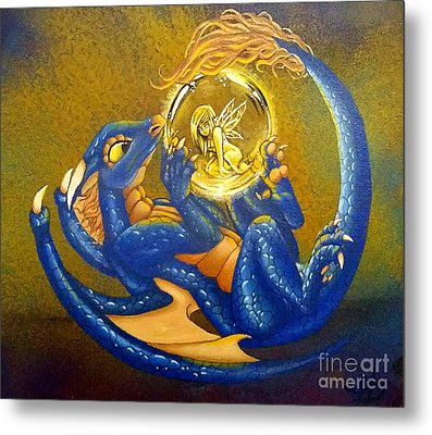 Dragon And Captured Fairy Metal Print
