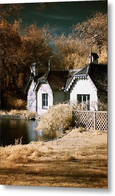 Duck Island Cottage Metal Print by Helga Novelli