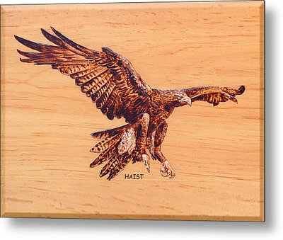 Metal Print featuring the pyrography Eagle by Ron Haist