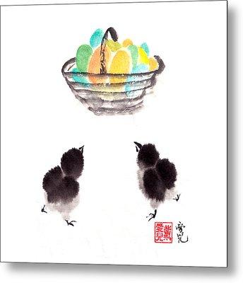 Easter Chicks Metal Print by Oiyee At Oystudio