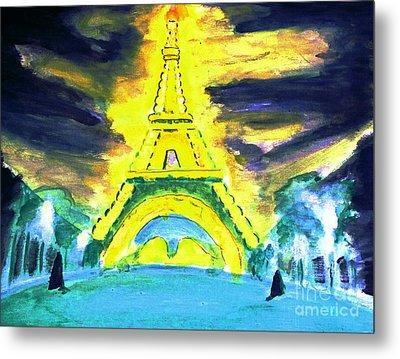 Eiffel Tower Night Optical Illusion Metal Print