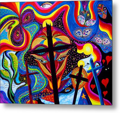 Metal Print featuring the painting Crosses To Bear by Marina Petro