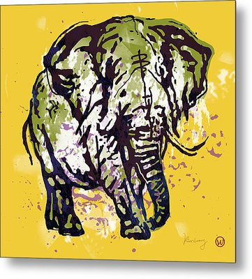 Elehpant Pop Art Etching Poster  Metal Print by Kim Wang
