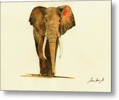Elephant Watercolor Metal Print by Juan  Bosco