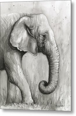 Elephant Watercolor Metal Print by Olga Shvartsur