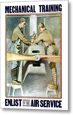 Mechanical Training - Enlist In The Air Service Metal Print by War Is Hell Store