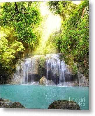 Erawan Waterfall Metal Print by Anek Suwannaphoom
