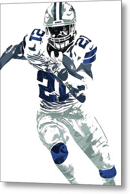 Ezekiel Elliott Dallas Cowboys Pixel Art 6 Metal Print by Joe Hamilton