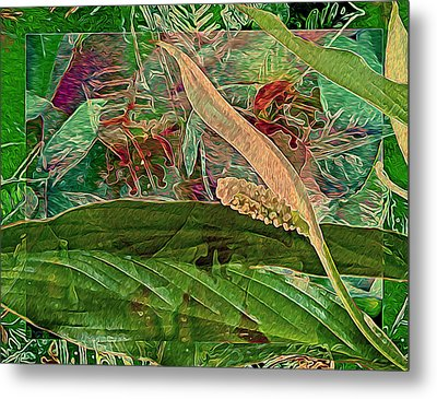 Fantasy With African Violets And Peace Lily Yellow And Green Metal Print