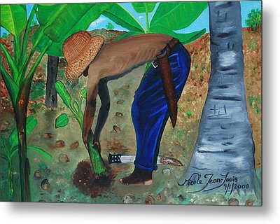 Metal Print featuring the painting Farmer Planting Banana Tree by Nicole Jean-Louis