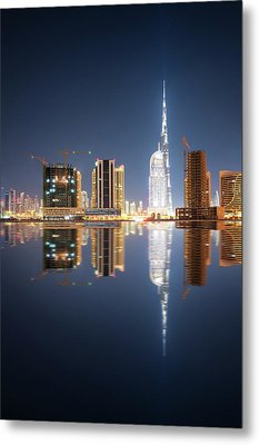 Fascinating Reflection Of Tallest Skyscrapers In Business Bay District During Calm Night. Dubai, United Arab Emirates. Metal Print