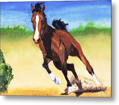 Metal Print featuring the painting Fast Horse by Sherril Porter
