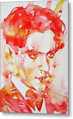 Metal Print featuring the painting Federico Garcia Lorca - Watercolor Portrait by Fabrizio Cassetta