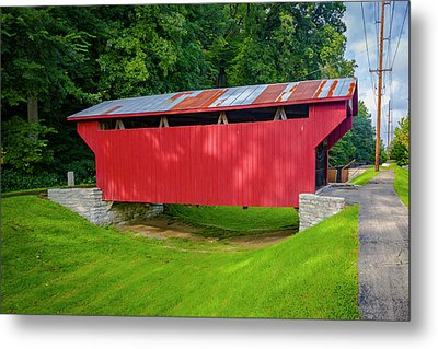Feedwire Covered Bridge - Carillon Park Dayton Ohio Metal Print by Jack R Perry