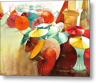Metal Print featuring the painting Festive Umbrellas by Yolanda Koh