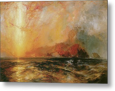 Fiercely The Red Sun Descending Burned His Way Along The Heavens Metal Print by Thomas Moran
