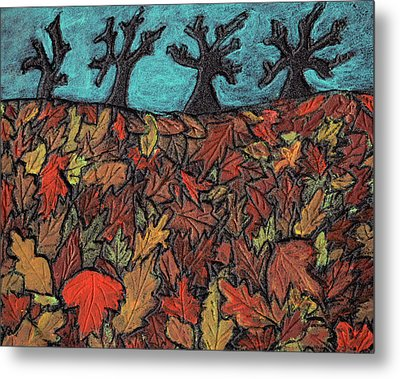 Finding Autumn Leaves Metal Print by Wayne Potrafka