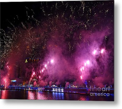 Metal Print featuring the photograph Fireworks Along The Love River In Taiwan by Yali Shi