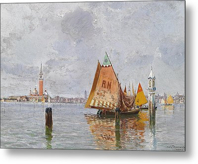 Fishing Boats In The Lagoon Of Venice Metal Print