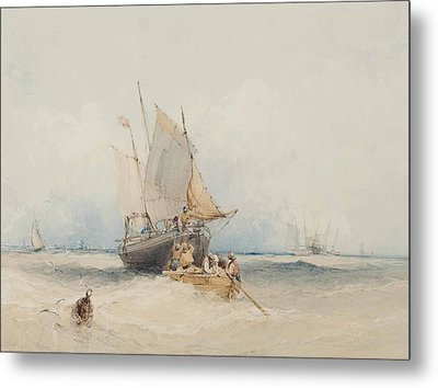 Fishing Boats Off Lowestoft Metal Print by MotionAge Designs