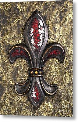 red mosaic Fleur-di-lis Metal Print by Tony Cordoza