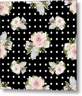 Floral Rose Cluster W Dot Bedding Home Decor Art Metal Print by Audrey Jeanne Roberts