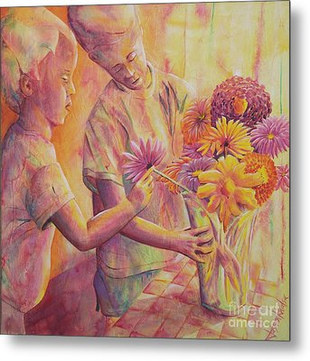 Flower Arranging Metal Print