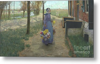 Flower Girl In Holland Metal Print by George Hitchcock