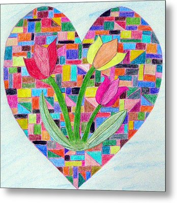 Flowers For My Love Metal Print by Jeanette Oberholtzer