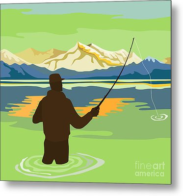 Fly Fisherman Casting Metal Print by Aloysius Patrimonio