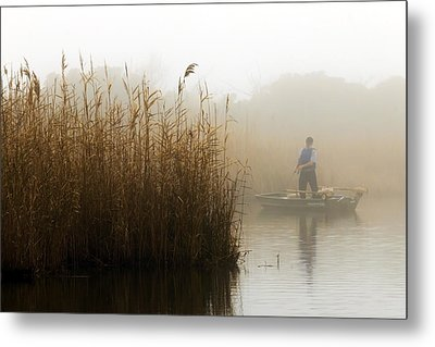 Foggy Fishing Metal Print
