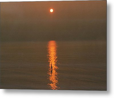 Foggy Sunrise On Virginia Beach Metal Print