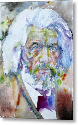 Frederick Douglass - Watercolor Portrait Metal Print by Fabrizio Cassetta