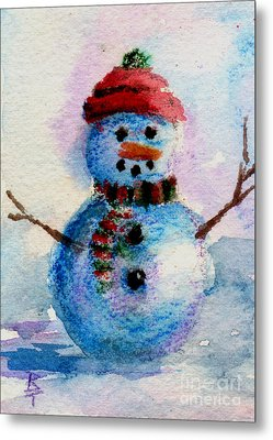 Metal Print featuring the painting Frosty Aceo by Brenda Thour