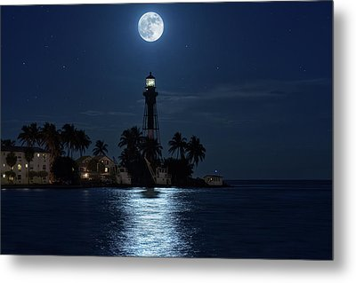 Full Moon Over Hillsboro Lighthouse In Pompano Beach Florida Metal Print