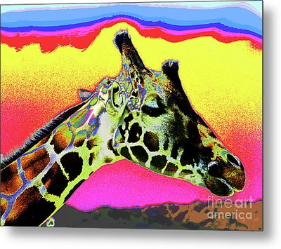 Giraffe Fun Metal Print by Larry Oskin