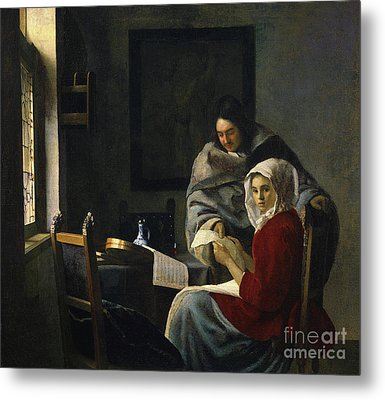 Girl Interrupted At Her Music Metal Print by Jan Vermeer