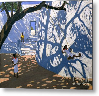 Girl On A Swing India Metal Print by Andrew Macara