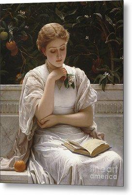 Girl Reading Metal Print by Charles Edward Perugini