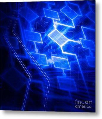 Glowing Blue Flowchart Metal Print
