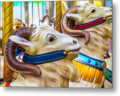 Goat Carrousel Ride Metal Print by Garry Gay