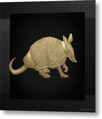 Gold Armadillo On Black Canvas Metal Print by Serge Averbukh