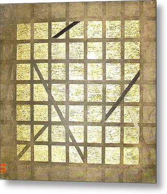 Golden Gridwork Metal Print by Bernard Goodman