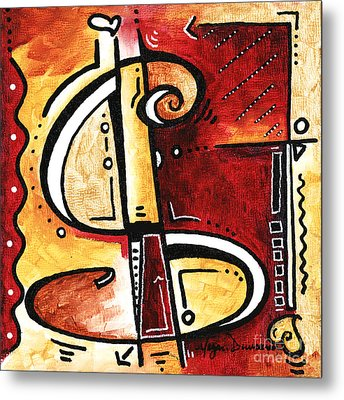 Golden Is A Fun Funky Mini Pop Art Style Original Money Painting By Megan Duncanson Metal Print