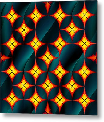 Private Gorgeous Yellow Red Grid  Metal Print