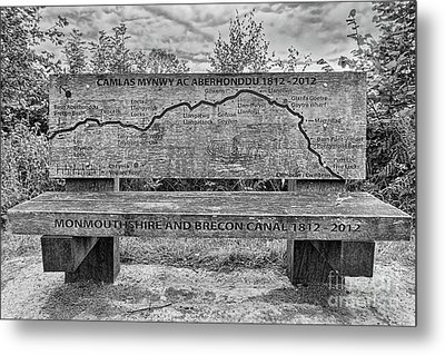Goytre Wharf Seat Map Metal Print by Steve Purnell