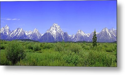 Grand Tetons Panorama Metal Print by Mary Gaines