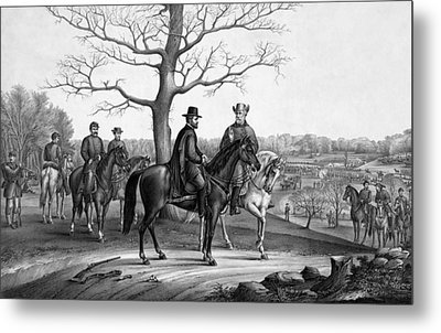 Grant And Lee At Appomattox Metal Print