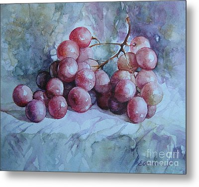 Metal Print featuring the painting Grapes... by Elena Oleniuc