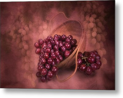 Grapes In Wicker Basket Metal Print